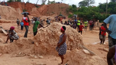 Photo of Galamsey pit caves in Central Region; 3 feared dead and 15 trapped