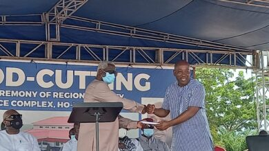 Photo of Freddie Blay Cuts Sod for Volta NPP Office Complex