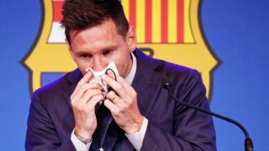 Photo of Lionel Messi in tears as he bids Barcelona farewell