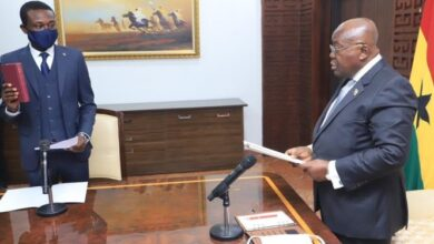 Photo of Kissi Agyebeng sworn into office; pledges to 'suppress and repress' corruption