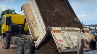 Photo of Tipper truck offloads sand on toddler